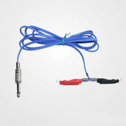 Silicon Clip Cord mit Klinkenstecker blau  Kabel Tattoobedarf
