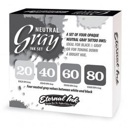 ETERNAL INK - Neutral Gray Ink Special Set - 4 Farbtöne 30 ml Eternal Ink Graue Farbtöne  Tattoobedarf