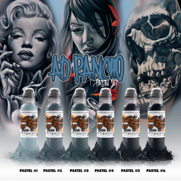 World Famous Ink - A.D. Pancho Pastel Grey Set 6 x 30 ml World Famous Ink Color Sets Tattoobedarf